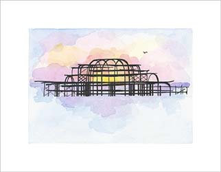 Summer West Pier print by Clare Harms