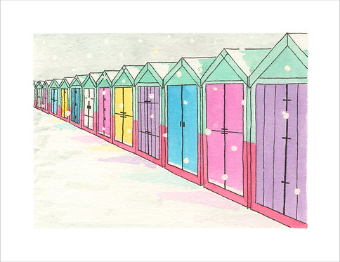 Greetings Card Snowy Beach Huts by Clare Harms