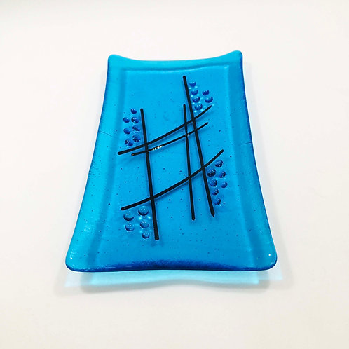 Blue Clear Glass Dish by Jill Iliffe