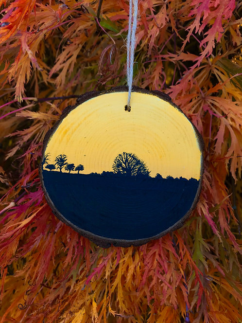 Autumn Glow painted wood slice by Emily Grocott