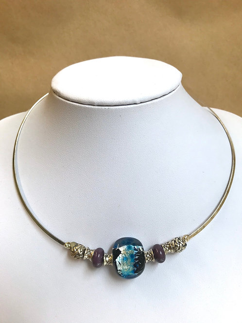 Glass lampwork bead silver choker by Norma Murray