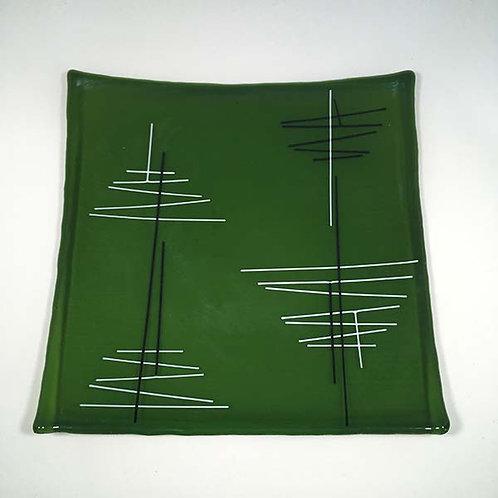 'Clear Green' Square Glass Dish by Jill Iliffe