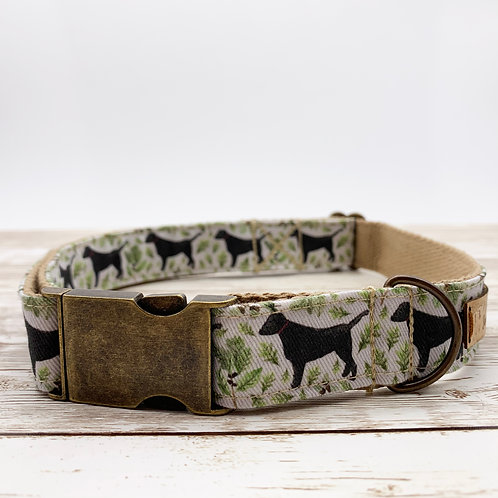 Dog collar with black Labrador print by Samantha Hall