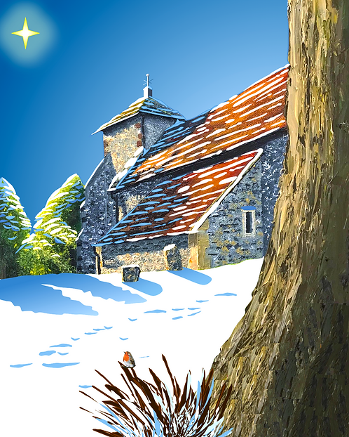 Greetings Card with Pyecombe Church in Snow by Emily Grocott