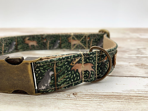Dog collar with Animals of the forest print by Samantha Hall