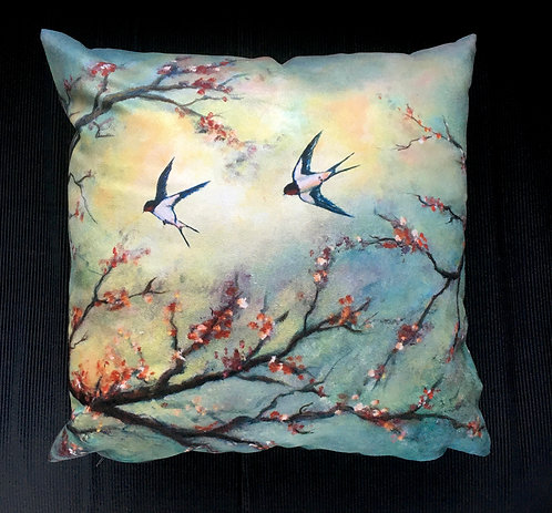 Swallows at Dawn Cushion by Serena Susse
