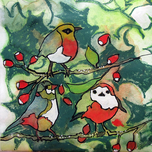 Holly Tweets Greetings Card by Alison Sibley