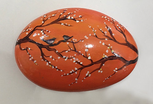 Birds in Blossom painted stone by Serena Sussex