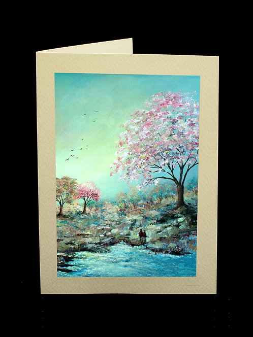 Blossom by the River Greetings Card by Serena Sussex
