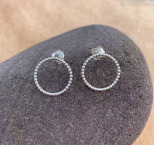 Beaded Silver Circle earrings by Alison Crowe