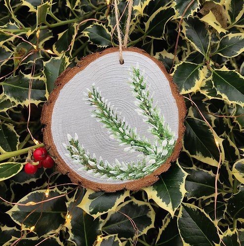Pine Tree Branches painted wood slice by Emily Grocott