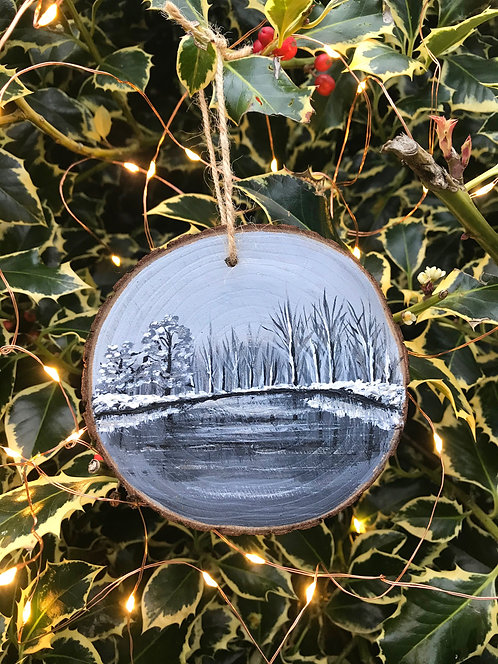 Winter Silence painted wood slice by Emily Grocott