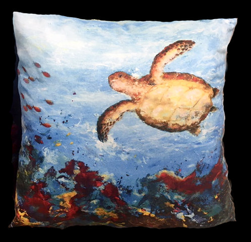 Green Turtle Cushion by Serena Sussex