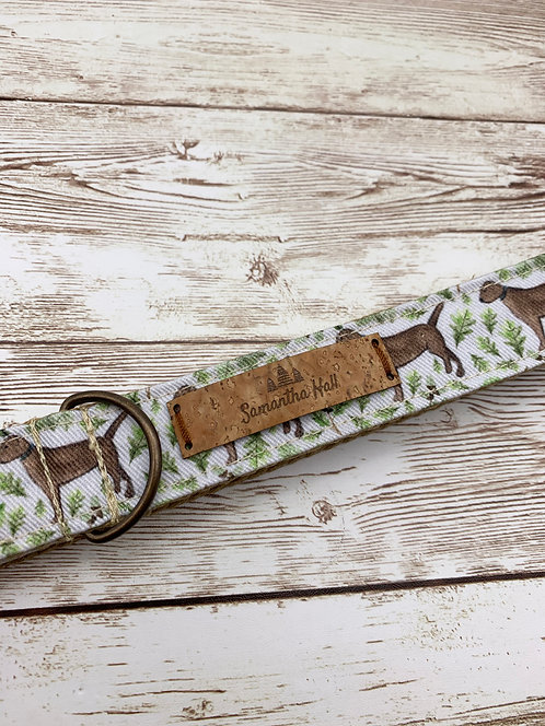 Dog collar with chocolate Labrador print by Samantha Hall