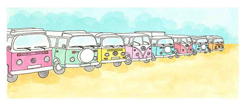 Campervan Meet print by Clare Harms