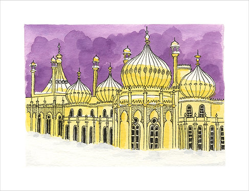 Greetings Card Winter's Evening Pavilion by Clare Harms