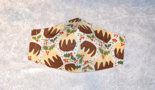 Face Mask with a Christmas Pudding pattern by Pamela Holmes