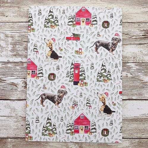 A5 notebook with Christmas Dachshund Beagle print by Samantha Hall