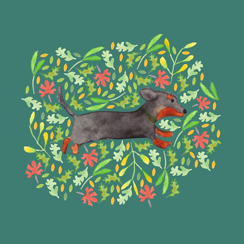 Brown Dachshund Greetings Card by Samantha Hall