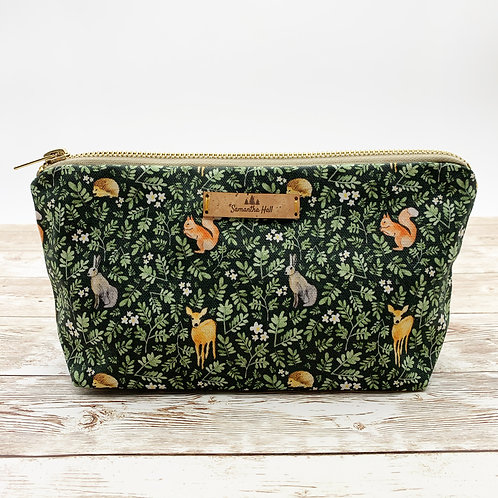 Cosmetic bag with woodland print by Samantha Hall
