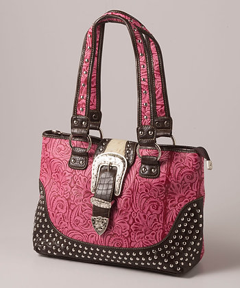 Ladie's Fuschia Tooled Satchel