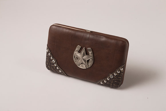 Brown Wallet with Horseshoe Design