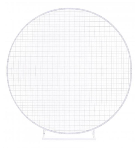 WHITE CIRCLE HOOP ARCH WITH MESH