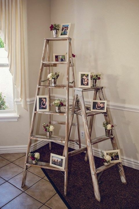 rustic ladders with photo frames (florals not included)