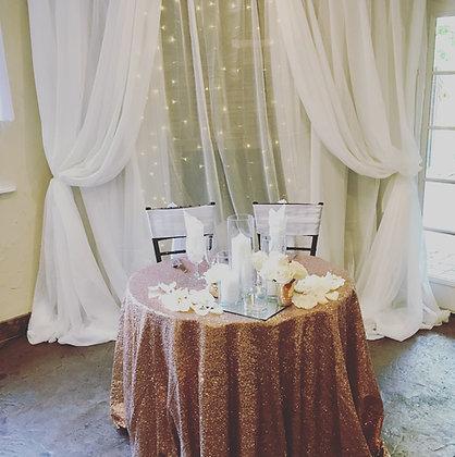 Romantic Fabric and Lights Backdrop - Rental
