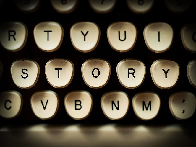 Typewriter Keys, middle keys spell out 'story'