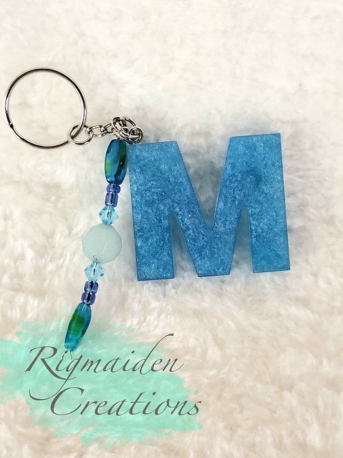 M Keychain - Pearlescent Blue with Beads
