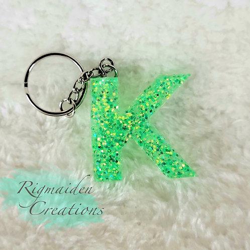 K Resin Alphabet Keychain - Green Glitter