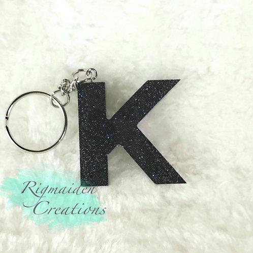 K Resin Alphabet Keychain - Navy Blue Glitter