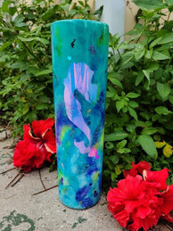 35oz Skinny 35oz Skinny alcohol ink dabbed tumbler with holographic vinyl, dolphins and mermaid glitter. Tumbler