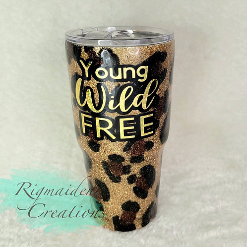 Young, Wild, and Free 30oz Glitter Leopard Tumbler