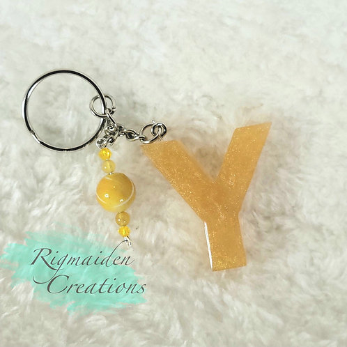 Y Alphabet Keychain  - Pearlescent Gold with Beads