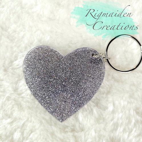 Silver Heart Acrylic Keychain