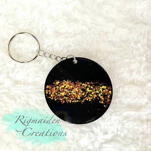 Black Glitter Stripe Acrylic Keychain