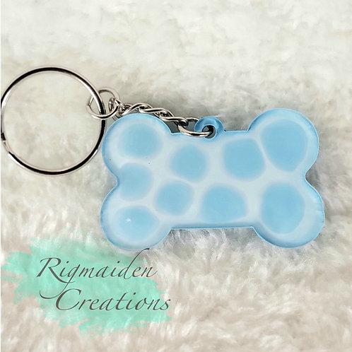 Dog Bone Keychain - Blue Water