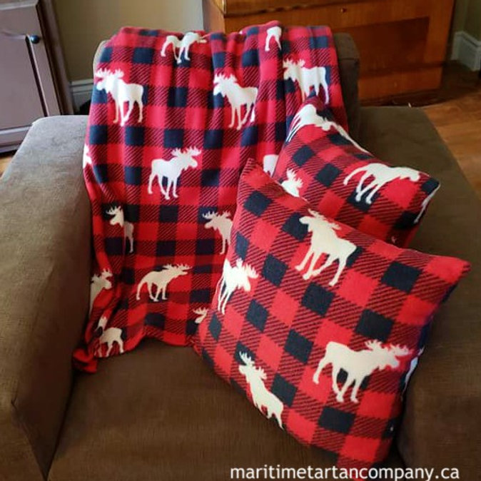 Pillow And Throw Set.Red And Black Check With Moose Print Pillow And Throw Set