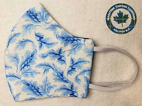 Blue Feathers Print Face Mask - ALLOW UP TO 10 BUSINESS DAYS FOR SHIPPING