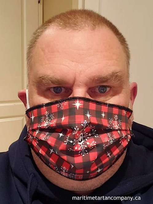Buffalo Check Snowflake Mask - ALLOW UP TO 10 BUSINESS DAYS FOR SHIPPING