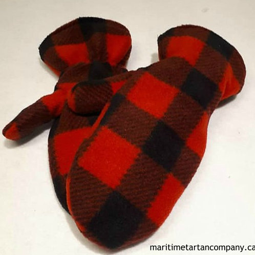 Red and Black Check Mittens
