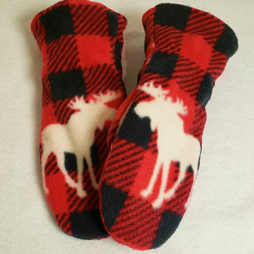 Red and Black Check with Moose Print Mittens