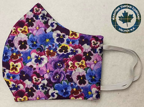 Pansies Print Face Mask - ALLOW UP TO 10 BUSINESS DAYS FOR SHIPPING