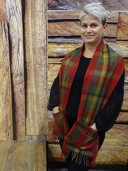 Dark Maple Tartan Wool Pocket Scarf