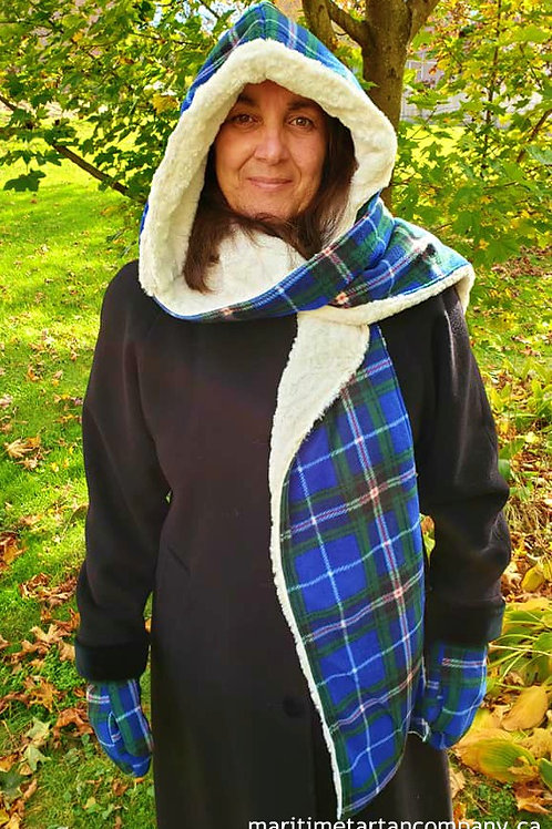 Tartan Hooded Scarf with Faux Fur