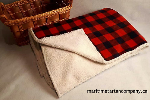 Red / Black Check Fleece Blanket Bonded with Chenille