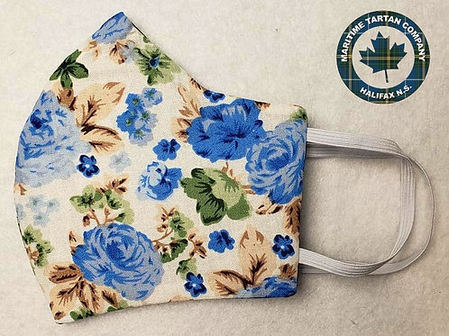 Blue Roses Print Face Mask - ALLOW UP TO 10 BUSINESS DAYS FOR SHIPPING