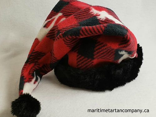 Red and Black Check Moose Print Hat